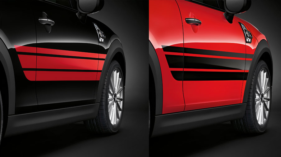 SIDE STRIPES, RED/BLACK